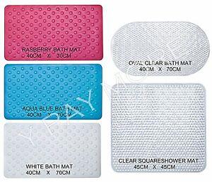 50 x 50cm Bath Shower Mat Non Slip Grip Suction Cup Drain Holes Anti Fall Strong
