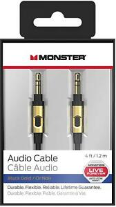 Monster-4ft-3-5mm-Male-to-Male-Auxiliary-Aux-Audio-Cable-Cord-Black-Gold
