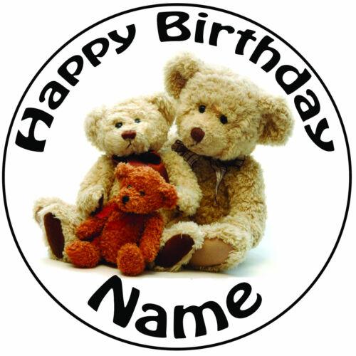 "20cm Personalised Teddies Teddy Bear Icing Cake Topper Round Easy Pre-cut 8/"""