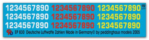 1//48 Decals für Deutsche Luftwaffe Zahlen  830
