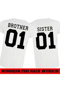 2x-SISTER-BROTHER-weiss-Geschwister-T-shirt-partner-familie-best-friends-love