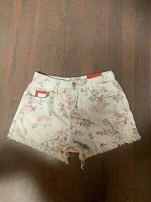 NWT Mossimo Women/'s Floral Print High-Rise Jean Shorts Faded Light Blue Rosey