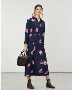 JOULES-CARLA-NAVY-SPACED-FLORAL-PRINT-LONG-SLEEVE-MIDI-SHIRT-DRESS-SIZE-10