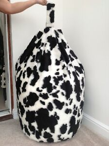 Beanbag-Adults-Filled-Luxurious-Faux-Fur-B-amp-W-Cow-Printed-Large-6-Cubic-Ft