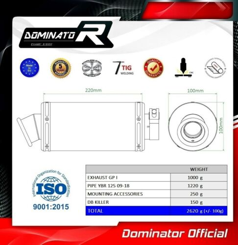 YBR 125 Exhaust GP I Dominator Racing silencer muffler 2009 2010 2011 2012 2013
