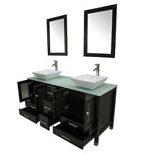 "60"" Black Double Bathroom Vanity Cabinet Solid Wood Ceramic Sink Mirror Faucet"