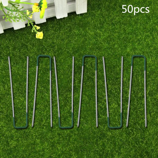 50 U PINS GREEN ARTIFICIAL GRASS TURF GALVANISED METAL PEGS STAPLES WEED HOOKS