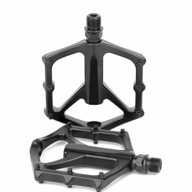 New MTB BMX Bike Cycling Platform Flat Pedals Titanium Spindle Ti Axle Black
