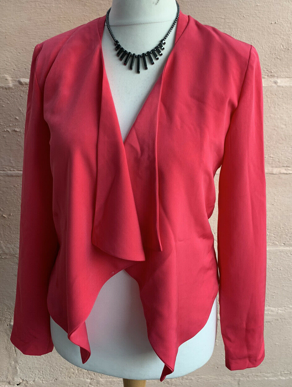 New look lined,padded shoulders,size8,pink long sleeve jacket wedding,smart(183)