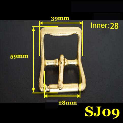 2X Brass Roller Pin Buckle Slider Bar Strap Luggage Accessor Leathercraft SJ09