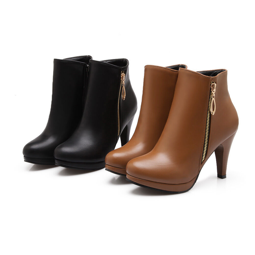 Women's Round Toe High Heel Platform Plus Sz shoes Synthetic Leather Ankle Boots