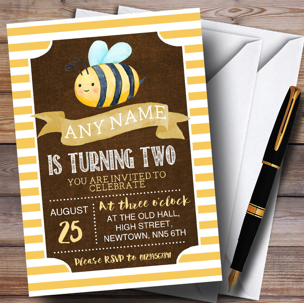 Rayures jaunes Invitations Bee Childrens Birthday Party Invitations jaunes be682a