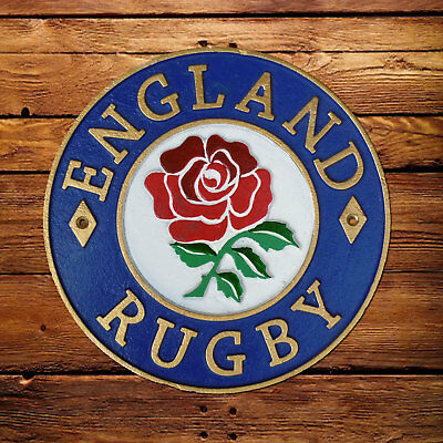 England Rugby Plaque Cast Iron 24cm Rugby Union Sign Red Rose | eBay