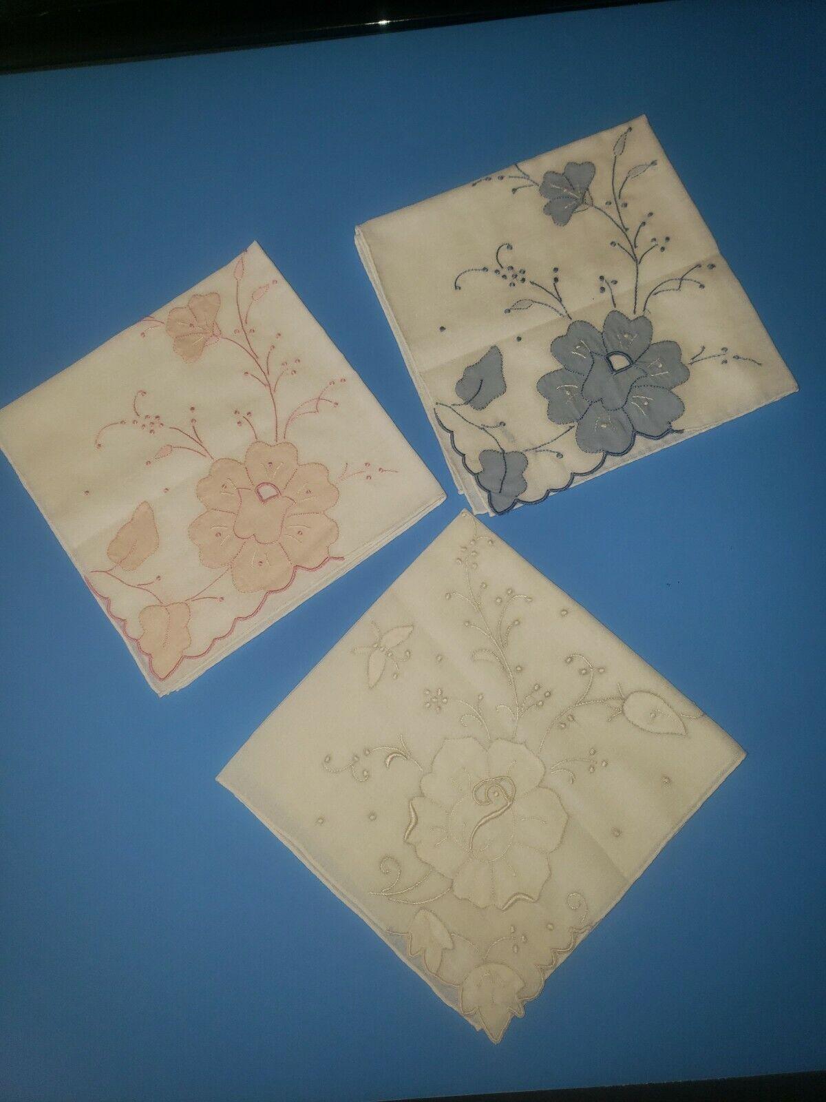 VTG. LOT OF 3 handkerchief HANKIE APPLIQUE embroidery