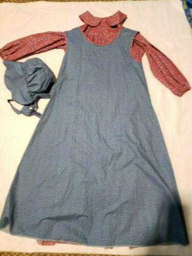Vtg praire dress Bonnet  Outfit set Handmade modes