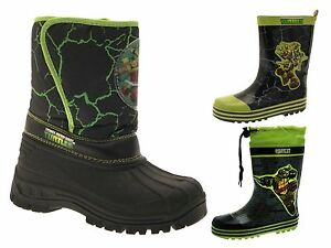 Get Nickelodeon Boys Kids Teenage Mutant Ninja Turtles Rubber Wellington Boots Wellies
