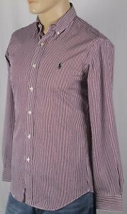 Ralph Lauren Red Stripe Button Down Custom Fit Stretch Dress Shirt Green Pony NW