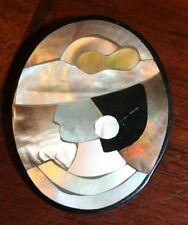 VINTAGE~ LADY IN HAT~ INLAID MOTHER OF PEARL ABOLONE PIN~ 2""