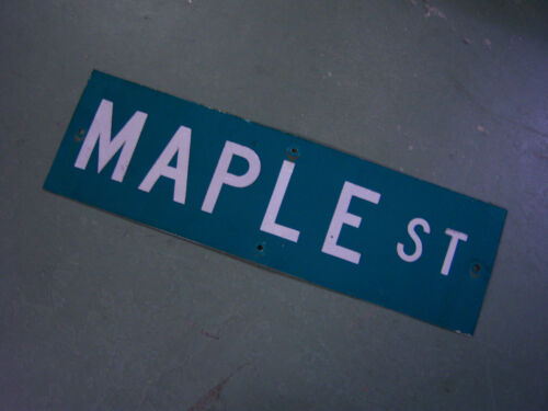 "Vintage ORIGINAL MAPLE ST STREET SIGN WHITE ON GREEN BACKGROUND 30/"" X 9/"""