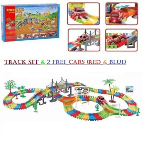 Flexible Children Car Track Set 257 Pcs Racing Game Set Led Fun Car Toy Free Car