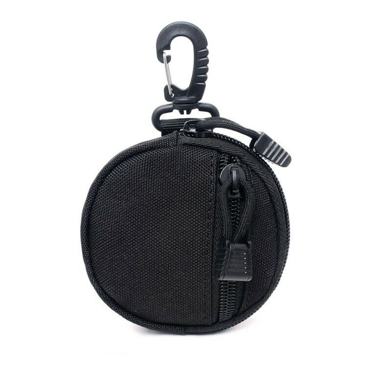 1x Black Waterproof Mini Nylon Key Holder Round Shape Hooks Belt Cash Pouch Bags