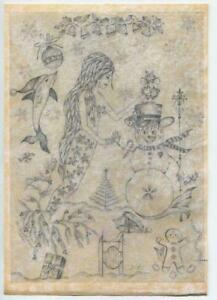CHRISTMAS MERMAID OCEAN WINTER WONDERLAND ORIGINAL PASTEL PRINT ON ANTIQUE PAPER