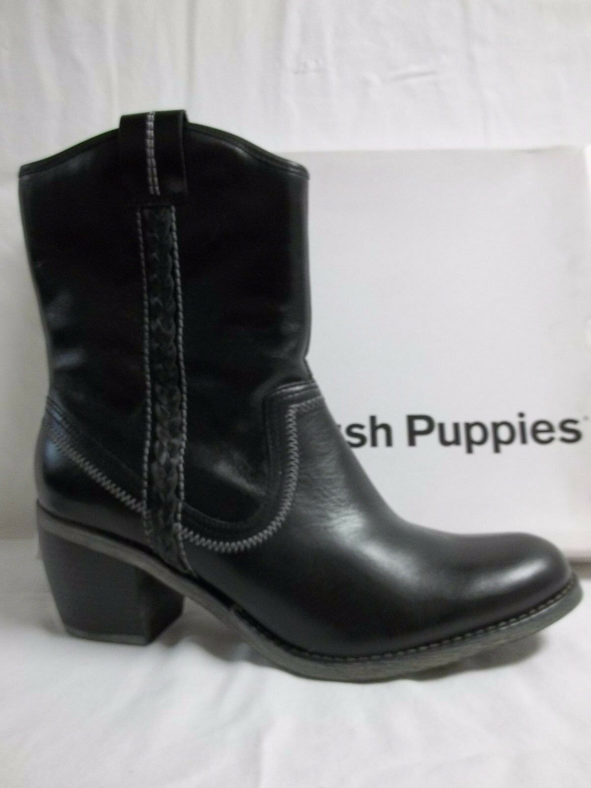 Hush Puppies Size 9.5 M Rustique Black Black Black Leather Ankle Boots New Womens shoes cb41c9