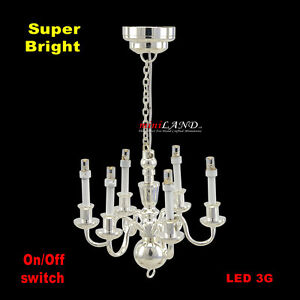 6 arms chandelier bright battery led lamp dollhouse miniature light image is loading 6 arms chandelier bright battery led lamp dollhouse mozeypictures Gallery