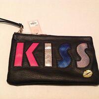 Juicy Couture Black Graphic Kiss Wristlet