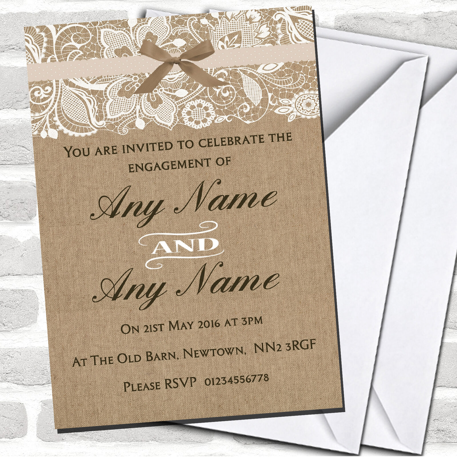 Vintage Burlap & Lace Engagement Party Invitations