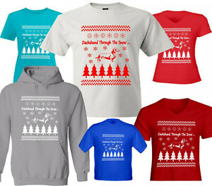 Dachshund Through The Snow..Cool Dog Mens Adult kids Juniors Unisex Tee T-Shirt