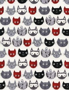 Cat-Fabric-Red-Black-and-Gray-Cartoon-Faces-on-White-Timeless-Treasures-YARD