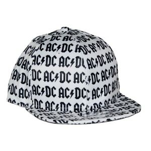 377f5a781a46a Ac dc All Over Logo Flat Bill Snapback Hat Officially Licensed ...