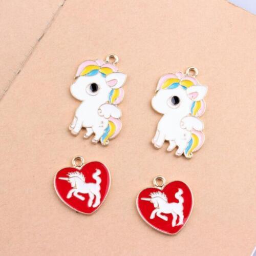 Placa de Esmalte Aleación Unicornio Colgante Hazlo tú mismo joyería Ornamento 10Pcs//set XL002#