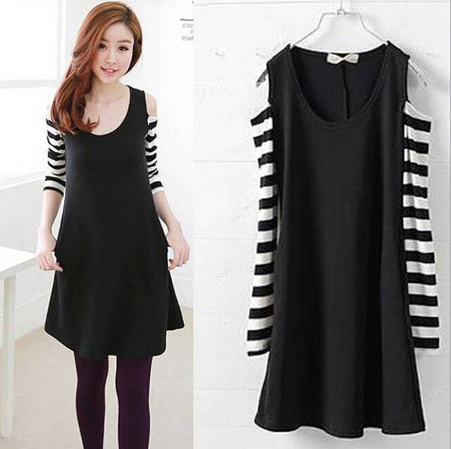 Korean Women Casual Off-shoulder Striped Long Sleeve Crew Neck Mini Short Dress