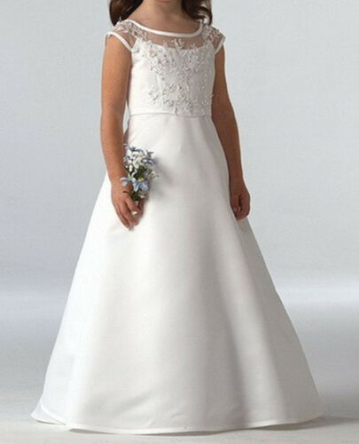 Lace Tutu Flower Girl Dress Princess Satin Wedding Holy Communion Baptism Gowns