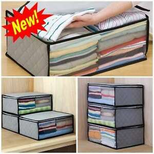 3 Piece Large Storage Bag Organizer Blanket Closet Clothes Extra Boxes Stackable