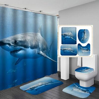 Shark Door Bath Mat Toilet Cover Rugs Shower Curtain Bathroom Decor Ebay