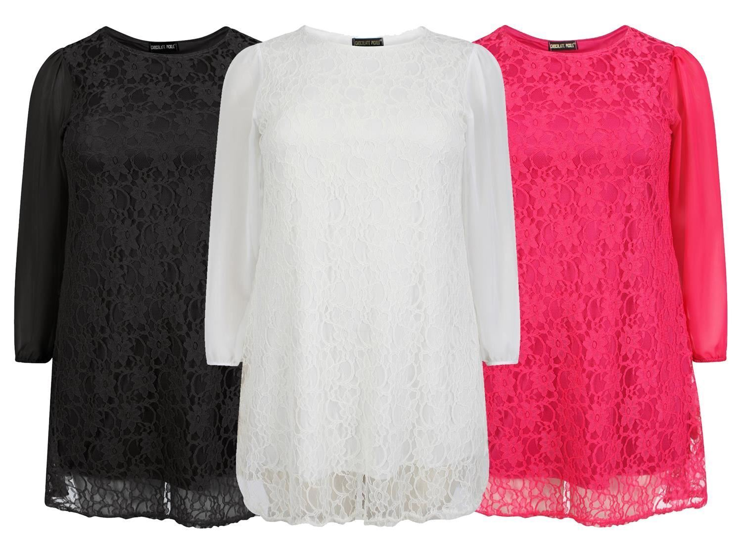 New Ladies Curve Full Sleeve Lace Lined Mesh Detail Dress