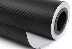 "12/"" x 60/"" CARBON FIBER VINYL WRAP BLACK 3D PRO GRADE BUBBLE FREE"