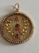 Beautiful Fine Antique Victorian 15ct Gold Pink Tourmaline & Seed Pearl Pendant
