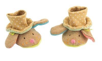 Moulin Roty Les Tartempois Tan Soft Baby Pantofole 0 - 6 Mesi Da Wyestyles-mostra Il Titolo Originale Merci Di Convenienza