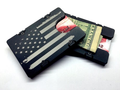 AMERICAN FLAG Black Aluminum Credit Card Holder//Wallet with RFID Protection