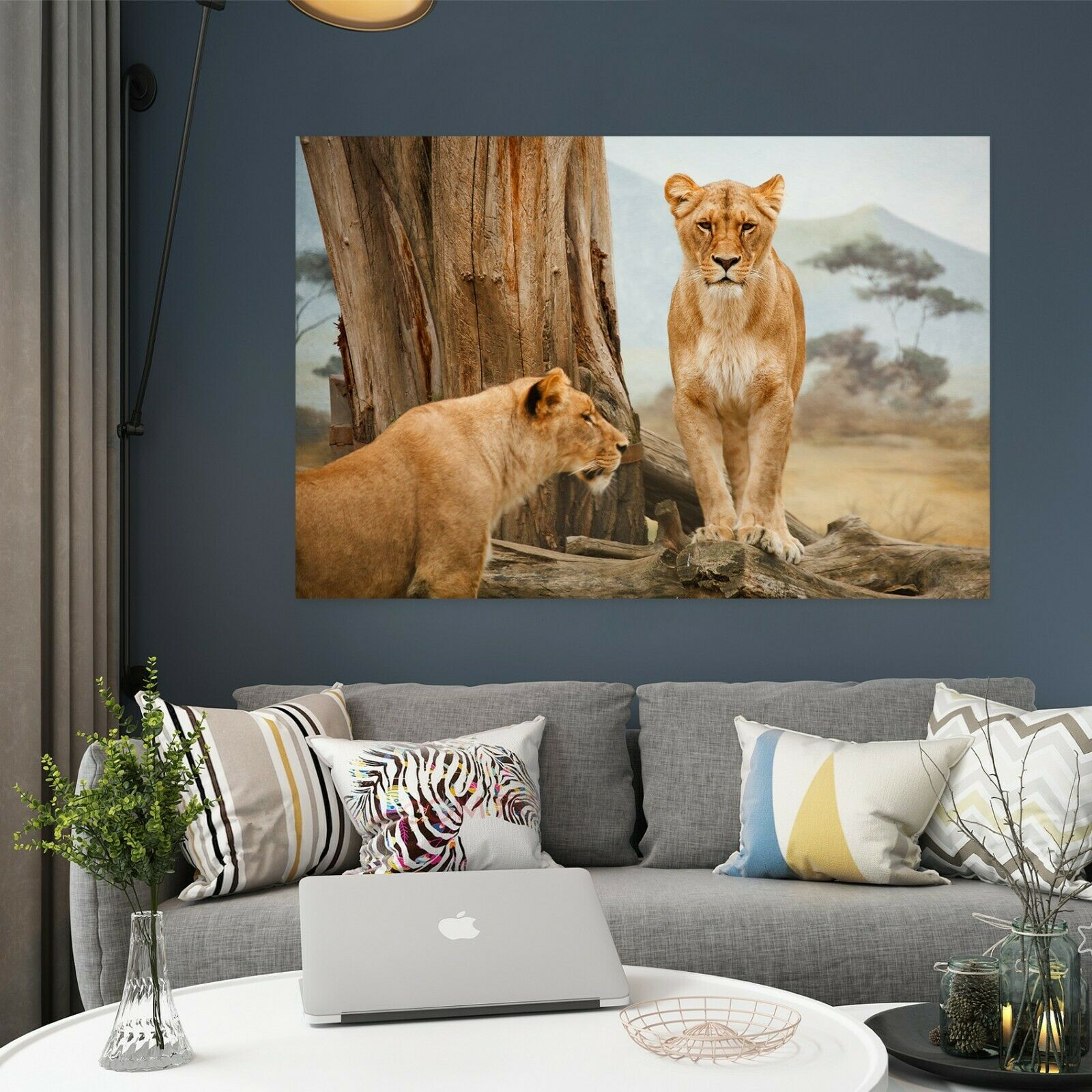 3D Two Lions O291 Animal Wall Stickers Vinyl Wallpaper Mural Wall Murals Amy