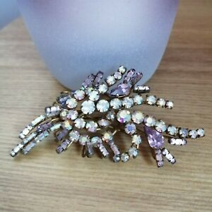 Vintage Pink Clear Diamante Leaf Gold Tone Abstract Costume Pin Back Brooch