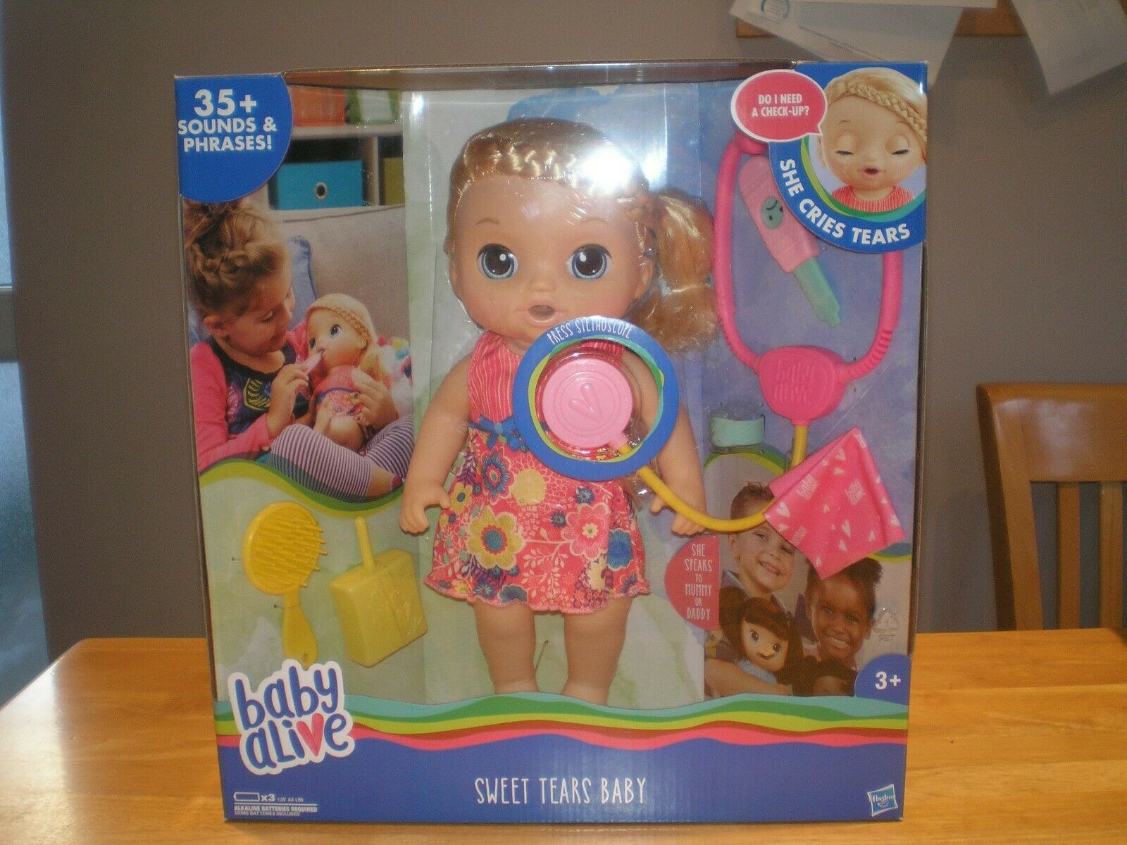 Baby Alive Sweet Tears Blonde Baby Girl Doll 35+ Sounds And Phrases