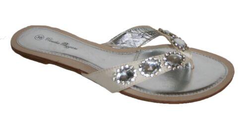 Ladies Satin Toe Post Mule with Jewelled Diamante White Sizes 5 x 7