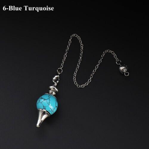 Amethyst Black Onyx Healing Crystal Natural Stone Reiki Pendulum Pendant Amulet