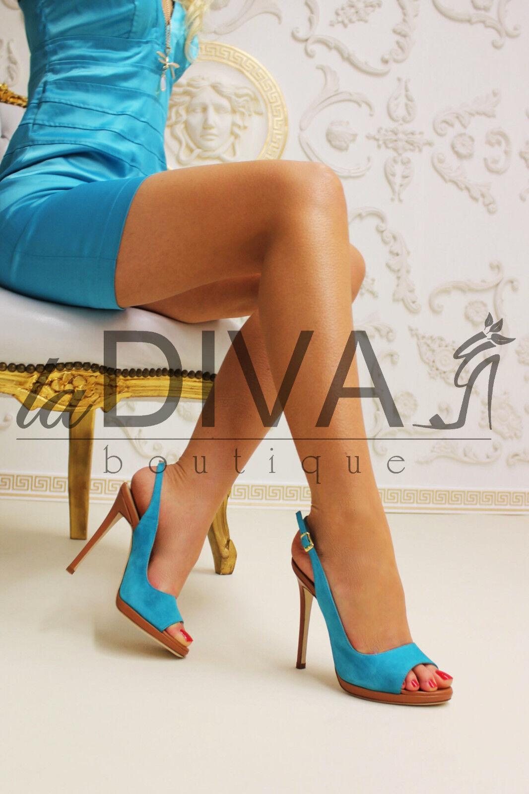 MICHELE SOZIO ~ Italy Wildleder Pumps Peep Peep Peep Toe 38 türkis blau cognac Leder Heels 14d0a8