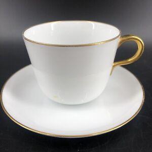Okura-White-amp-Gold-Teacup-amp-Saucer-Japan-Japanese